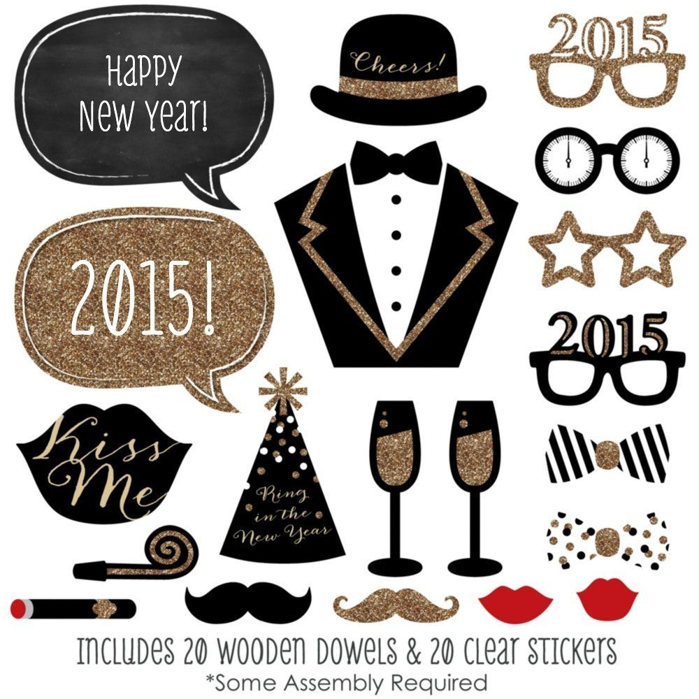 amazoncom new years party photo booth props kit 20 count toys games