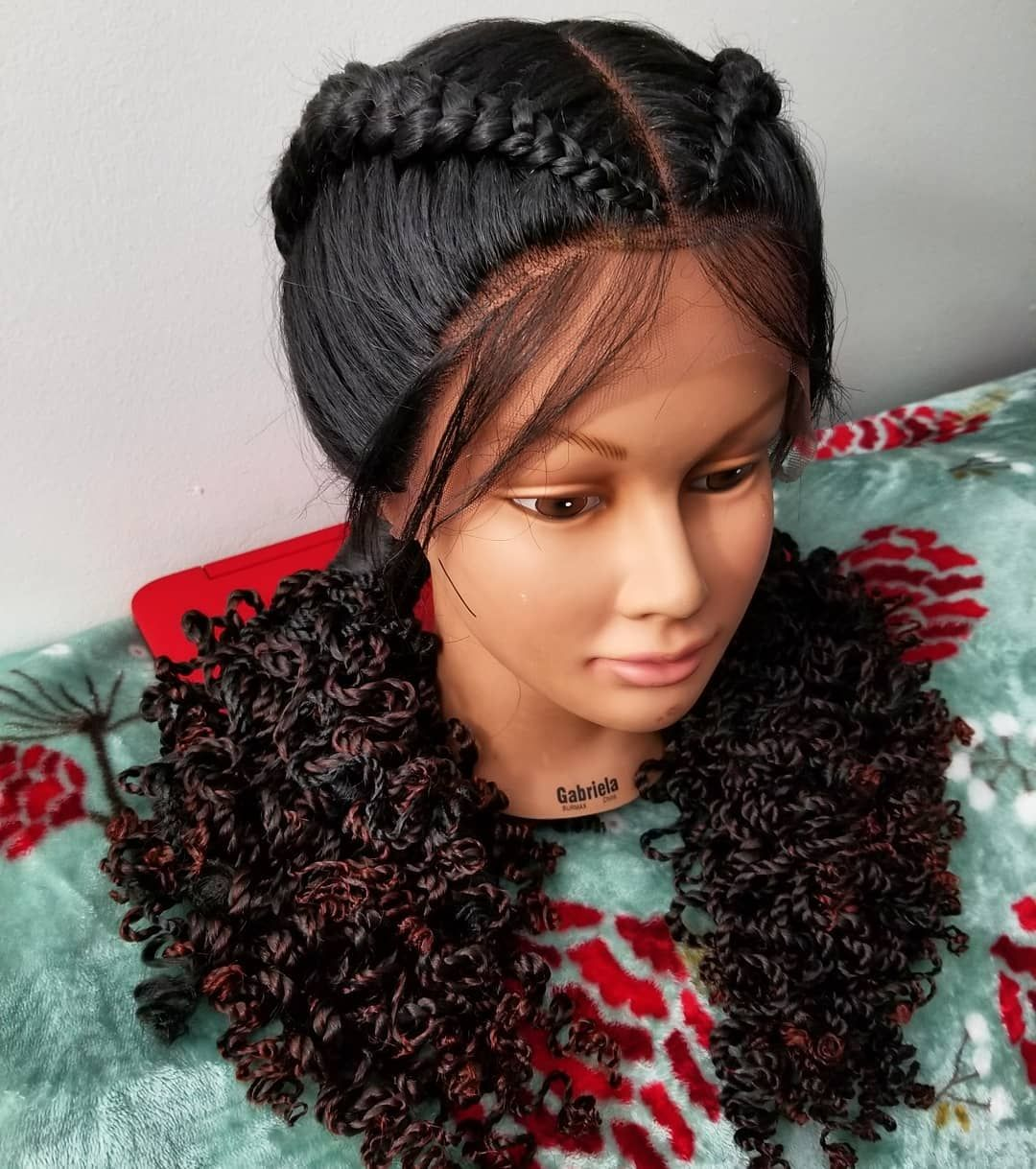 Two Braids Feed In Cornrows Lace Wig With Curly Ends Two Braid Hairstyles Braided Hairstyles Two Braids