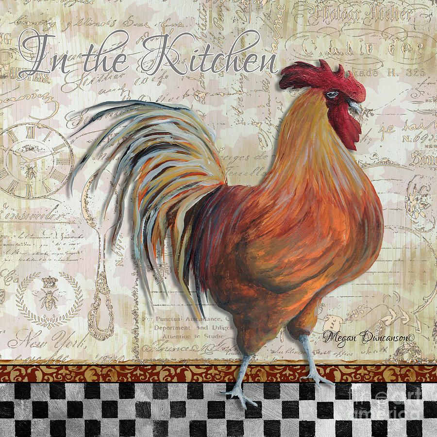 decorative rooster chicken decorative art original painting in the kitchen by megan duncanson on kitchen decor paintings prints id=31348