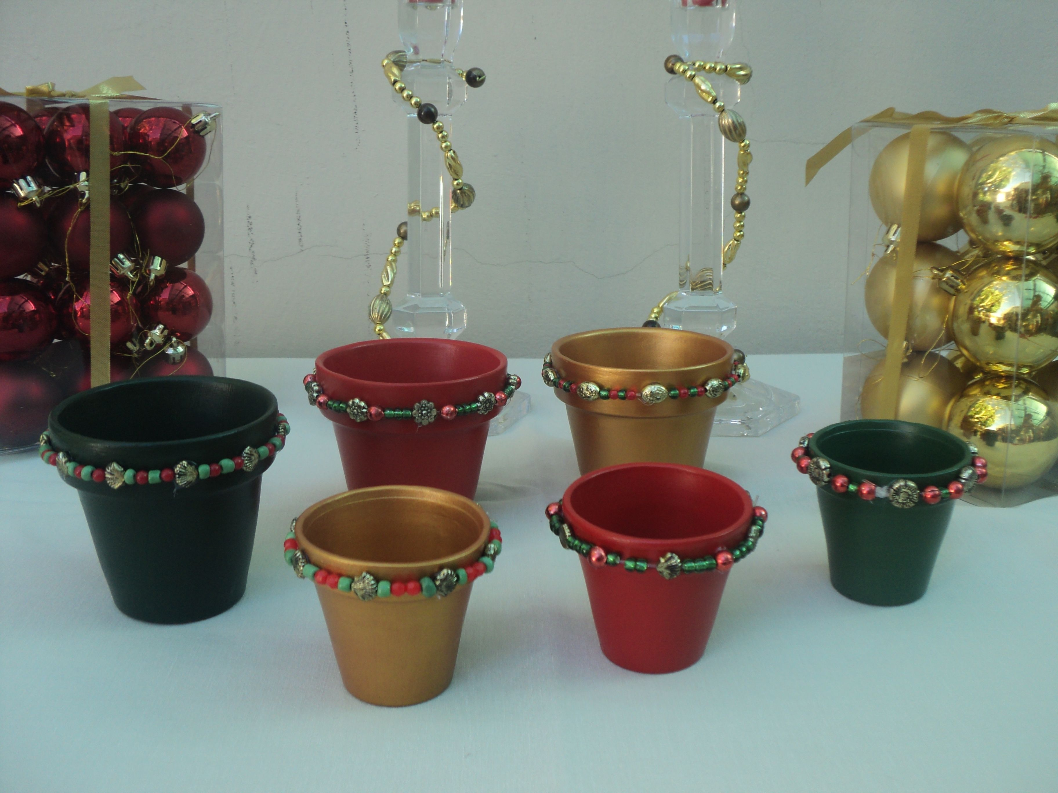 Set de 3 de macetas navide as para decorar la mesa del 24 hogar pinterest macetas mesas y - Colgadores de macetas ...