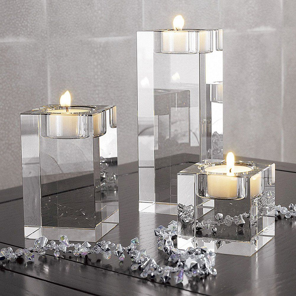 Crystal Candlestick Centerpieces Candle Holder Square Rectangle