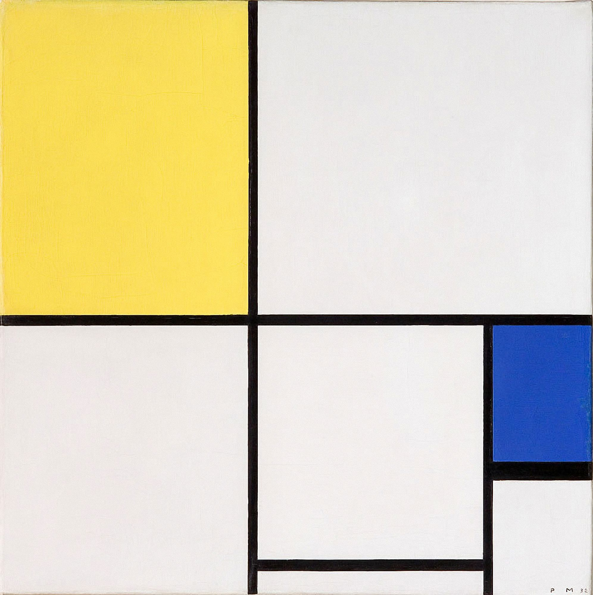 Piet Mondrian (1872-1944) Composition with Yellow and Blue 1932. Oil ...