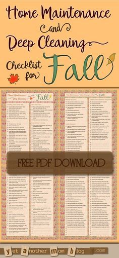 Home Maintenance  Deep Cleaning Checklist for Fall Free Printable
