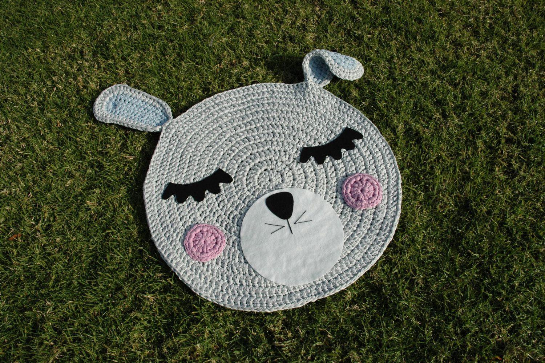 T Shirt Yarn Rug Bunny Model Rabbit Head Crochet Rug Round Rug Baby Room Rug Kids Rugs Cotton Rugs Childrens Rugs Baby Decor Alfombra De Ganchillo Alfombras Para Ninos Manualidades
