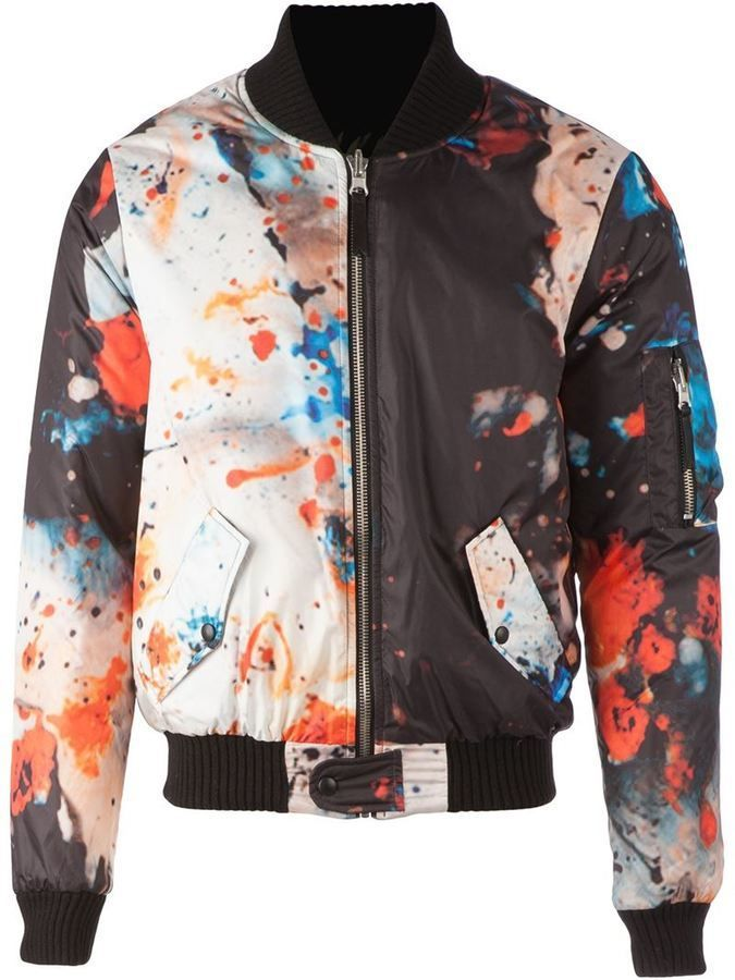 $342, Multi colored Print Bomber Jacket: Fifteen And Half Painterly Print Bomber Jacket. Sold by farfetch.com. Click for more info: https://lookastic.com/men/shop_items/321162/redirect