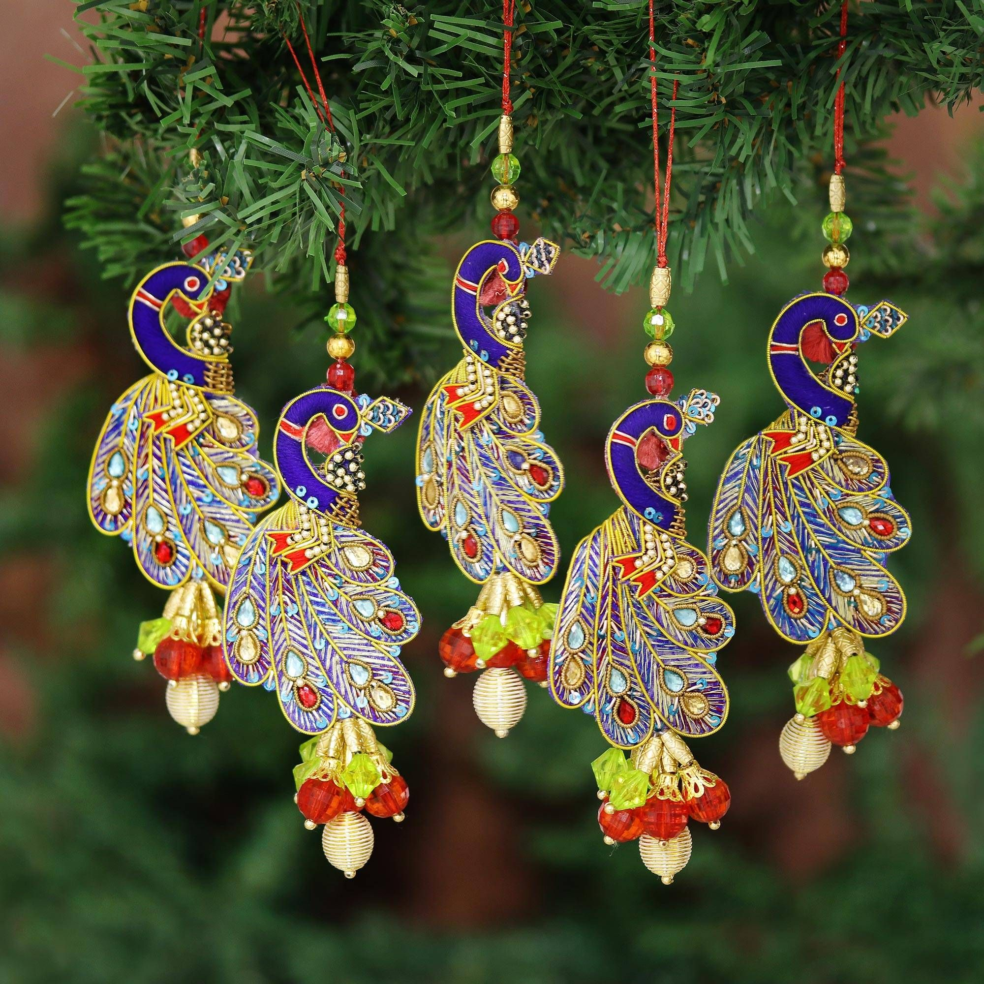 Beaded Ornaments Mughal Peacocks Set Of 5 In 2021 Beaded Christmas Ornaments Ornament Set Christmas Ornament Sets