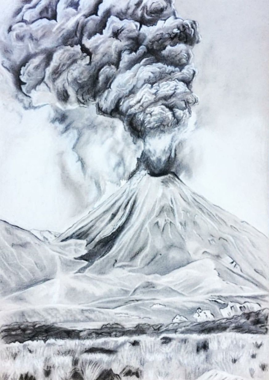 Ngauruhoe volcano new zealand pencil drawing by josephine doege