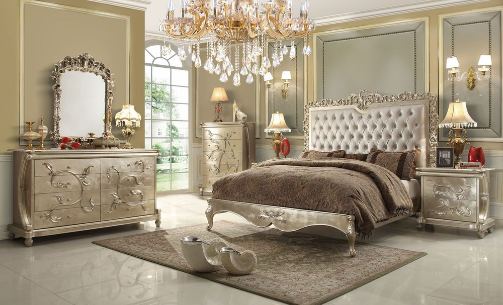 traditional bedroom set. Homey Design 6 pc Metallic Eastern King Traditional Bedroom Set