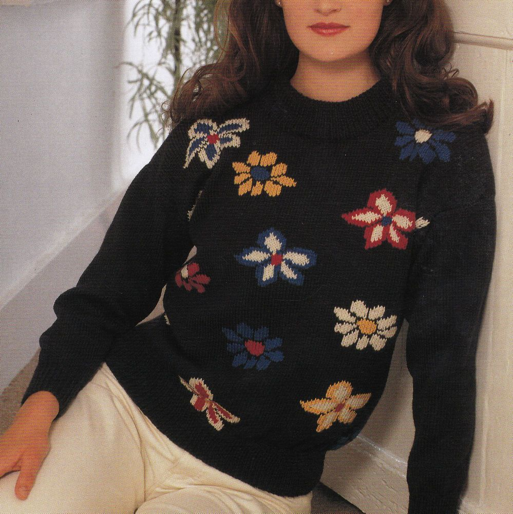 Navy Dominant (All Color Flowers) | Vintage knitting ...