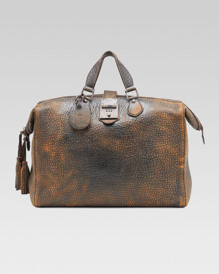 Goldmark Grainy Leather Duffel By Gucci Leather Duffle Bag Men Mens Leather Bag Leather Laptop Bag