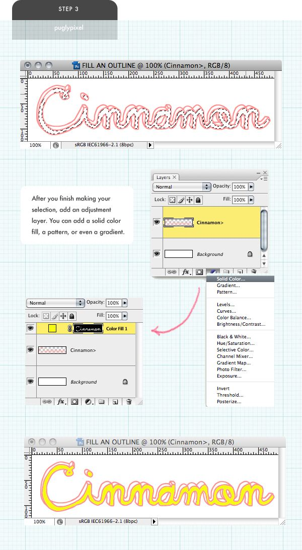 Tutorial how to fill an outline font by pugly pixel digital love puglypixel photoshop tutorial how to fill an outline font ccuart Image collections