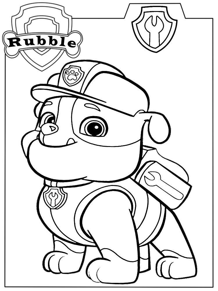 Descargamos Dibujos Para Colorear Paw Patrol Rubble Crafts Paw