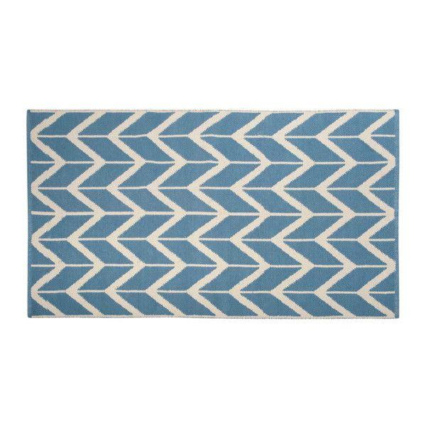 Teppich aus Baumwolle blau/ecru 90 x ... | Teppich | Pinterest ...