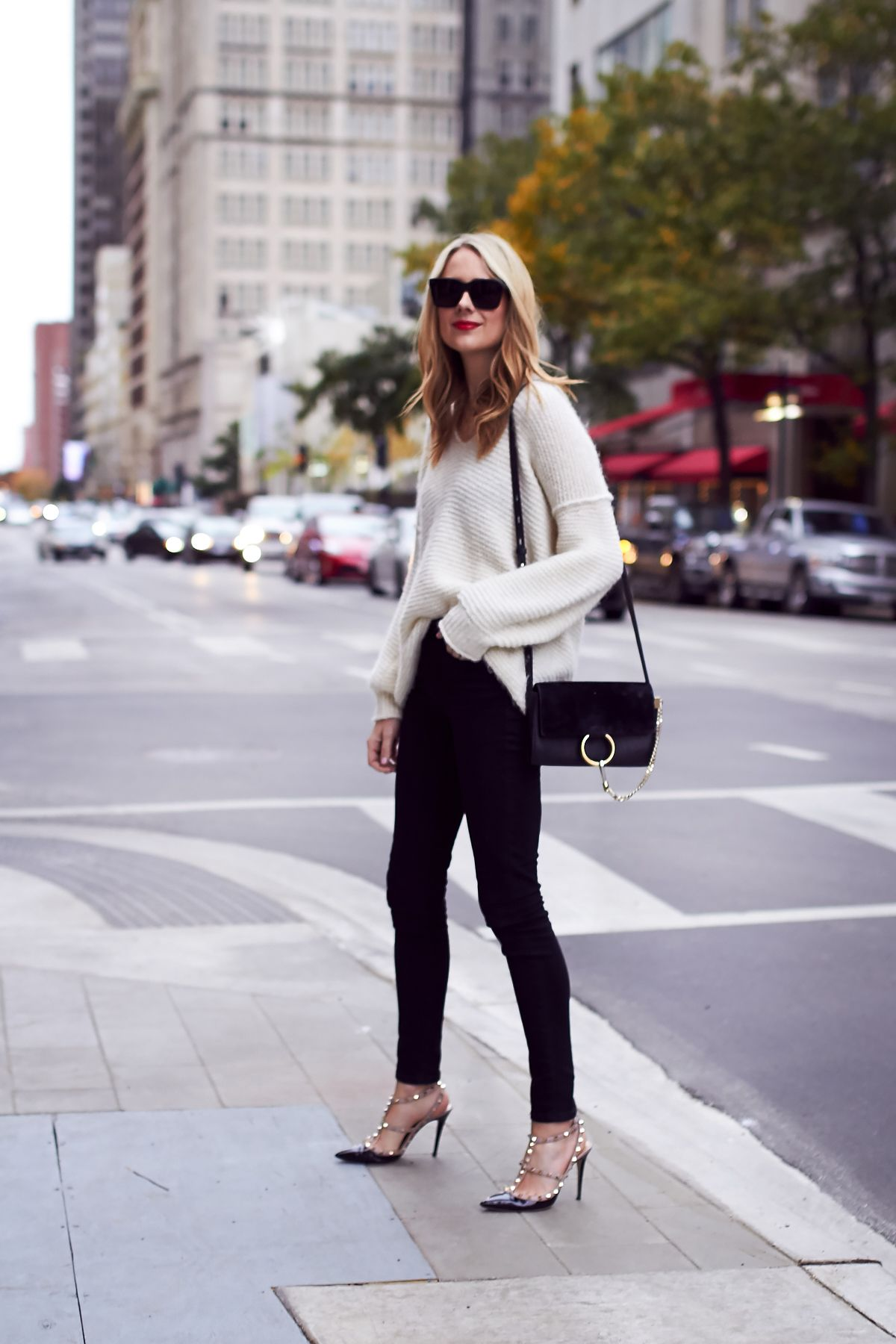 Fall Outfit Winter Outfit Ivory Sweater Black Skinny Jeans
