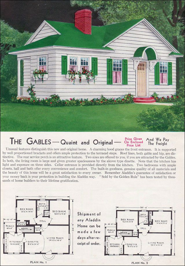 """Can You Add A Second Story To A Small Bungalow: Aladdin Kit Homes Catalog-The Gables ...""""The Gables-Quaint And Original. Unusual Features"""
