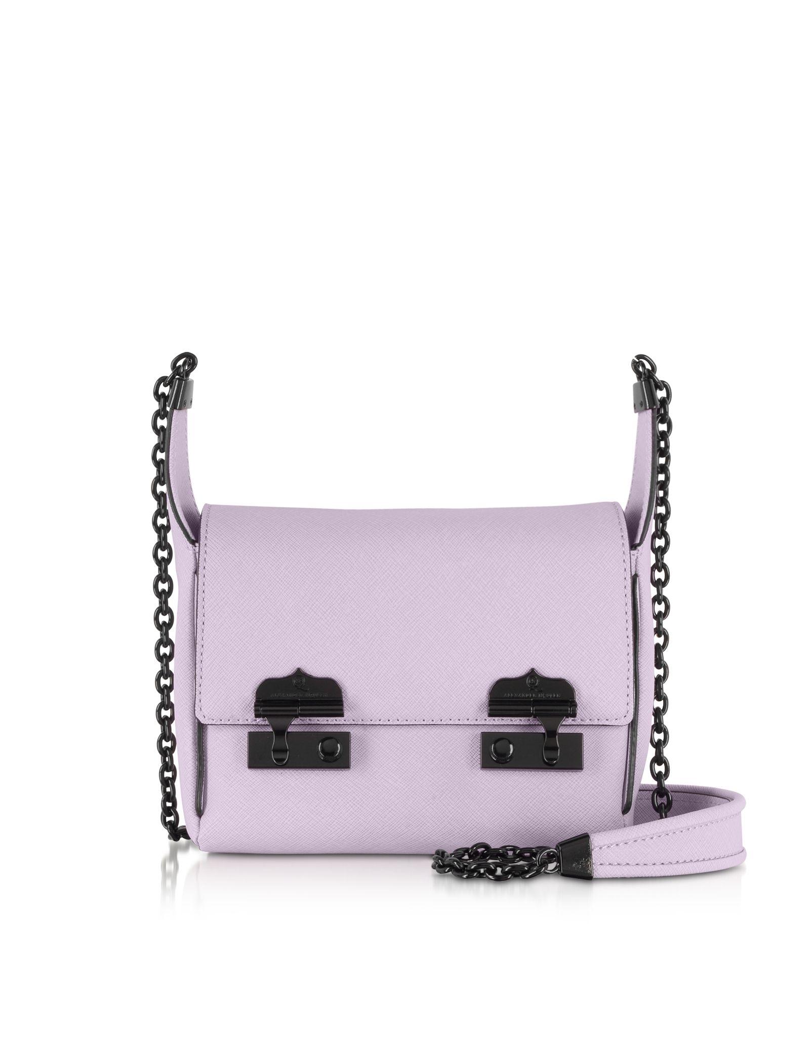 McQ by Alexander McQueen Baby Suzy Saffiano Leather Shoulder Bag in Lavender