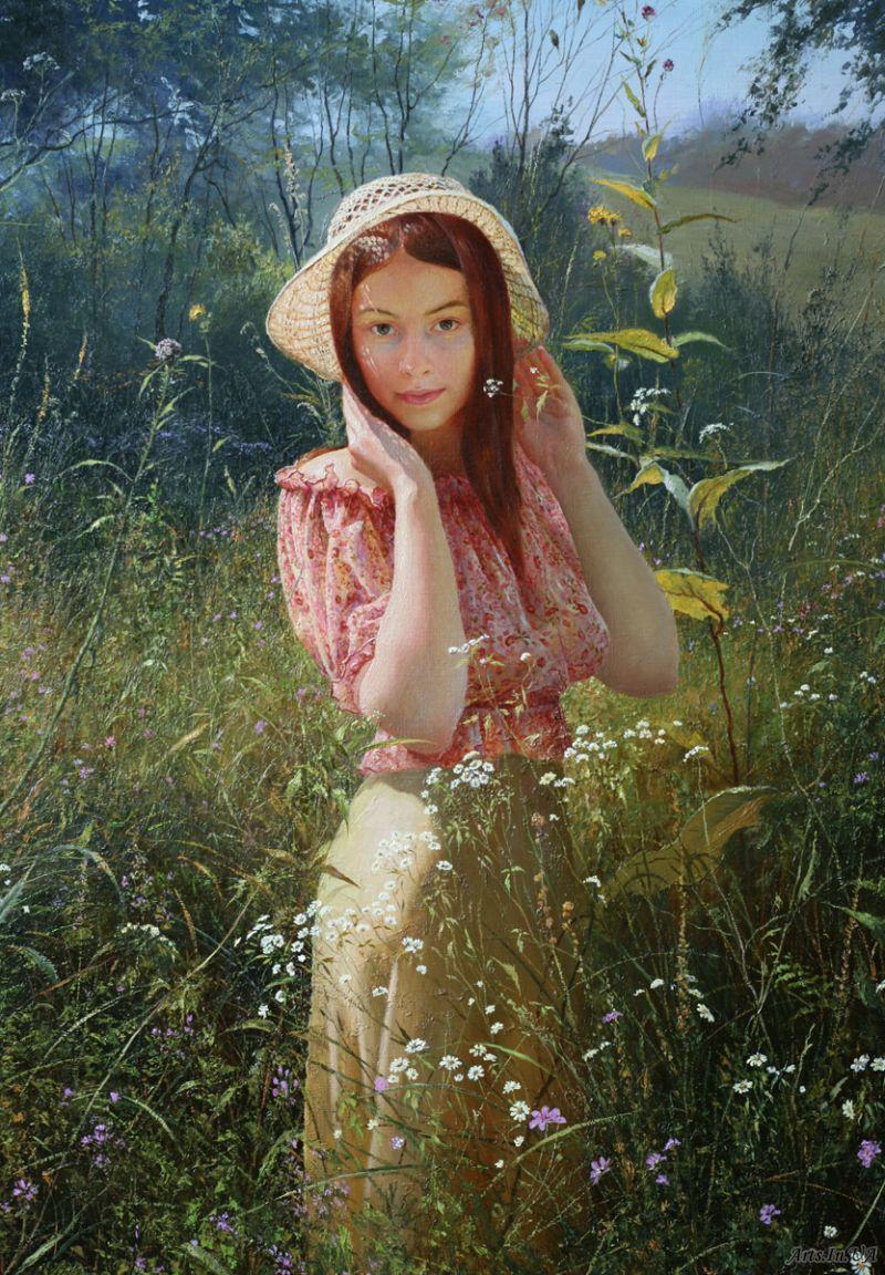 Картины девушки на фоне природы