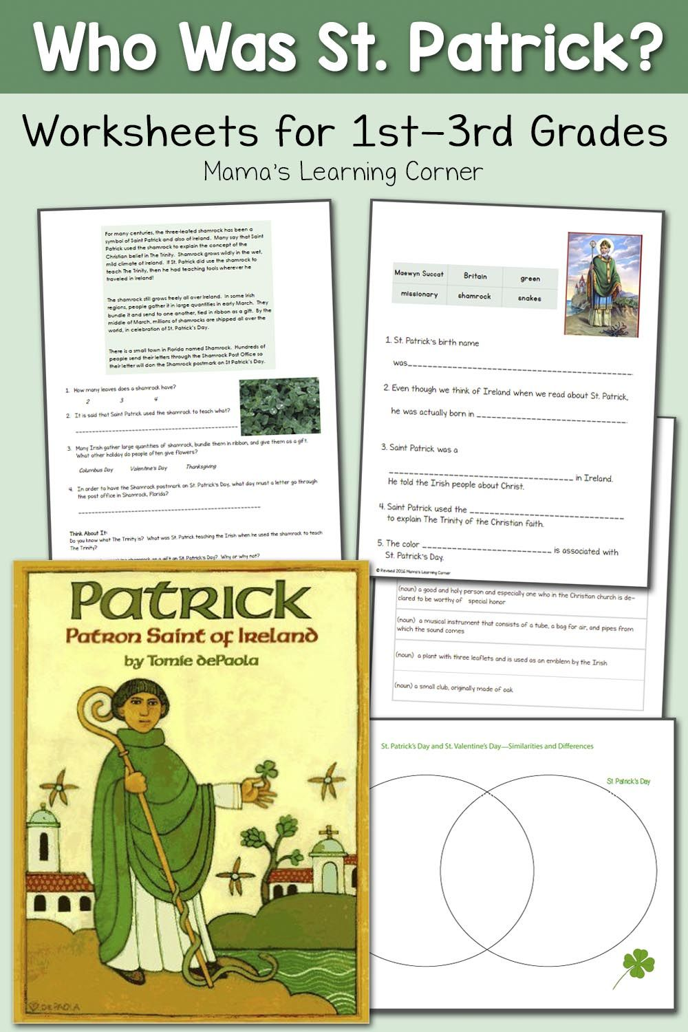 Saint Patrick Worksheets For 2nd 4th Graders St Patricks Activities St Patrick Day Activities St Patrick [ 1500 x 1000 Pixel ]