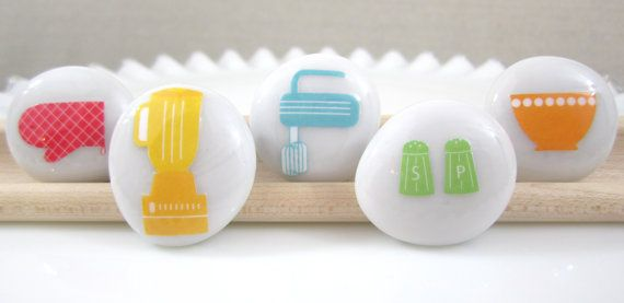 Kitschy Kitchen MEDIUM Glass Circle Magnets Set of 5 by JuJuBrand, $9.50