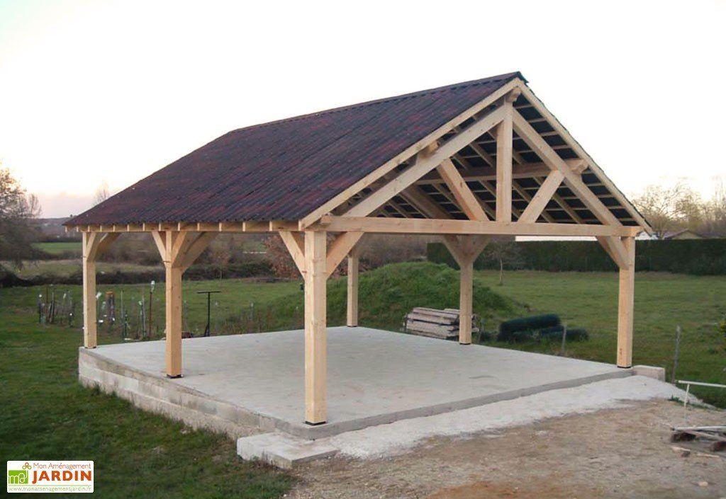 Carport Bois Contrecolle Double Pente 30 Avec Bardeau Bitume 5x6m Backyard Pavilion Backyard Remodel Garden Bbq