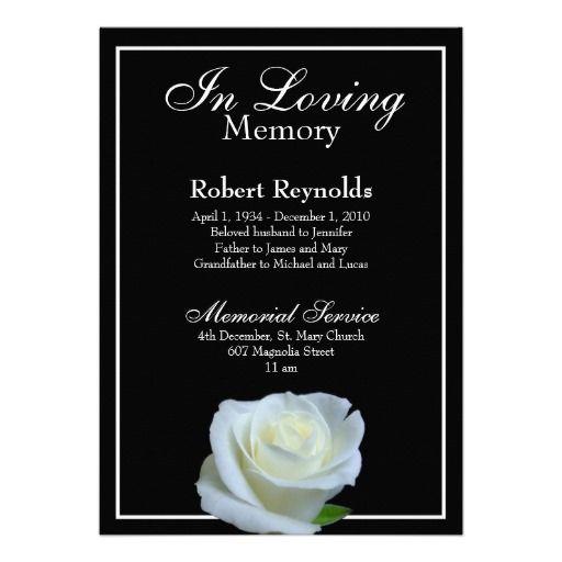 Memorial Announcement Zazzle Com Funeral Invitation