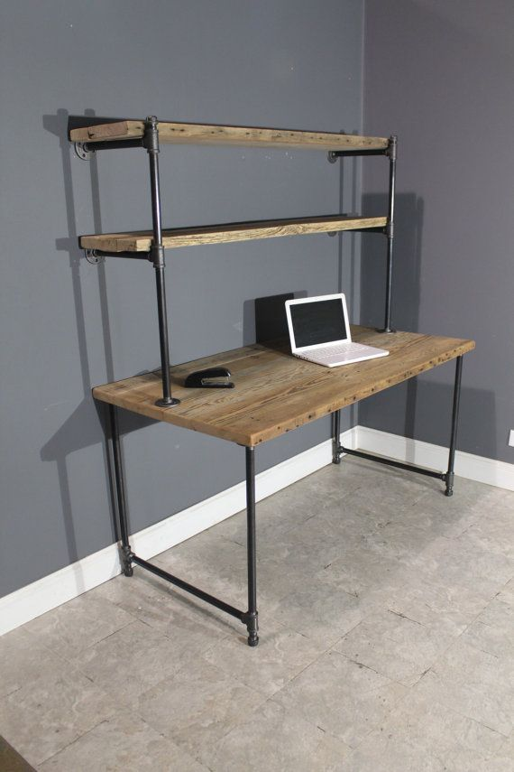 Raw reclaimed computer desk w 2 shelves attach to wall for Industrial pipe desk