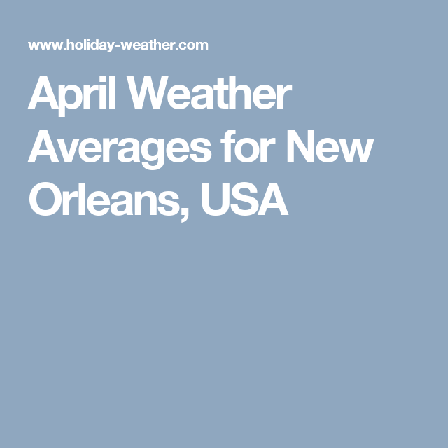 April Weather Averages for New Orleans, USA