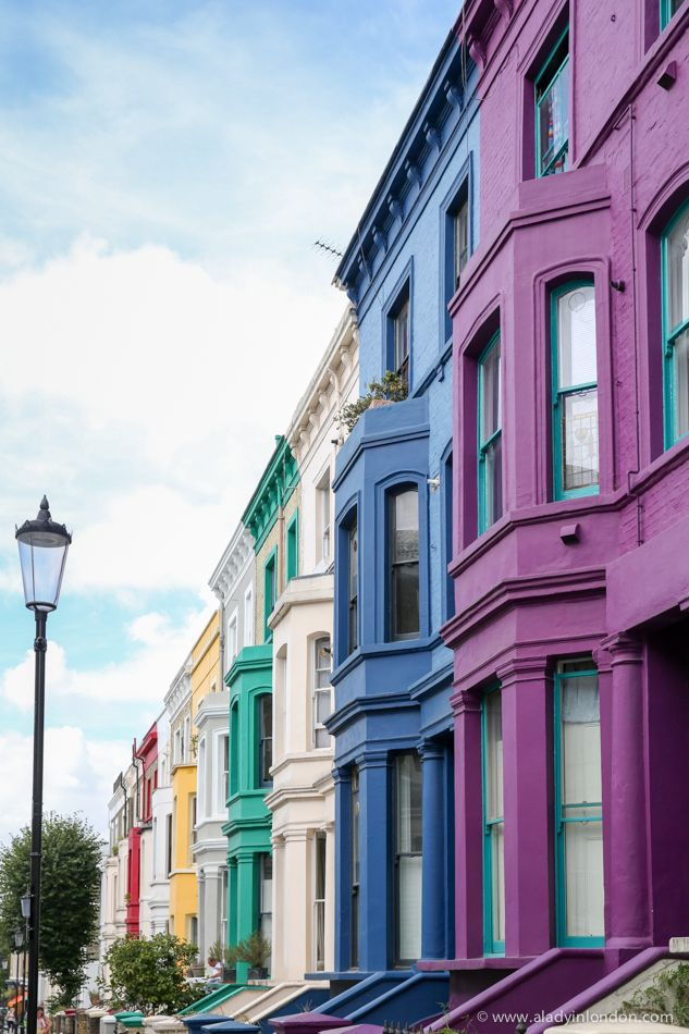 Rainbow colored houses in notting hill london