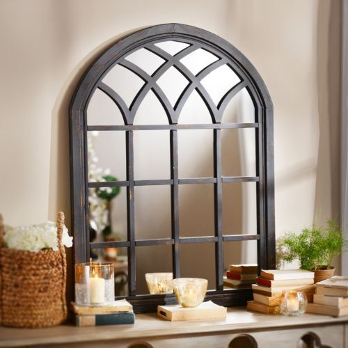 Ava Black Arch Wall Mirror, 35x46 | Kirklands