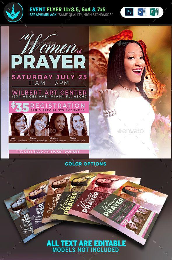 women of prayer church flyer template  print