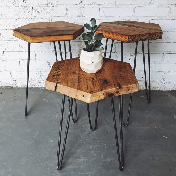 Mid Century Reclaimed Hexagon Side Table