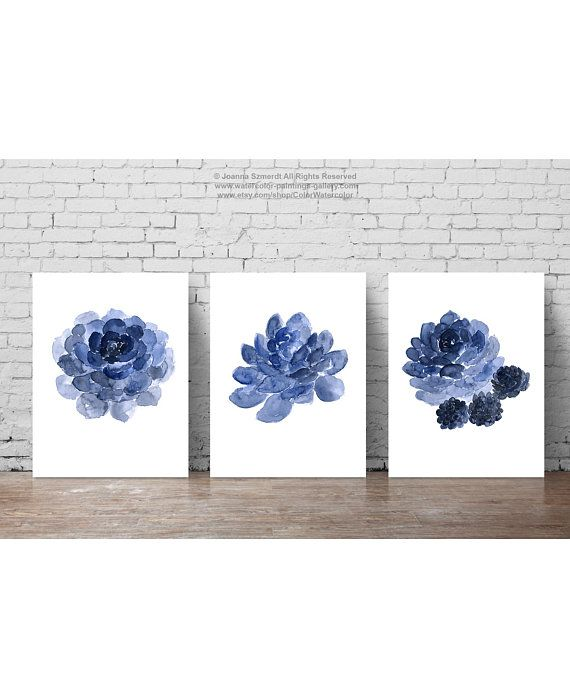 Photo of Succulent Illustration Cactus Art Print Navy Room Decor, Boys Nursery Wall Drawing set 3 Cacti Kids Poster Botanical Illustration
