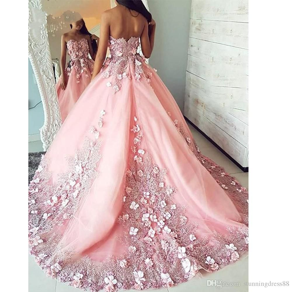 Romantic Pink 3d Floral Flowers Evening Dresses Ball Gown Sweetheart Applique Lace Backless Quinceanera Party Sweet 16 Prom Dress Cheap From Stunningdress88 1 Evening Dresses Prom Prom Dresses Ball Dresses [ 1000 x 1000 Pixel ]
