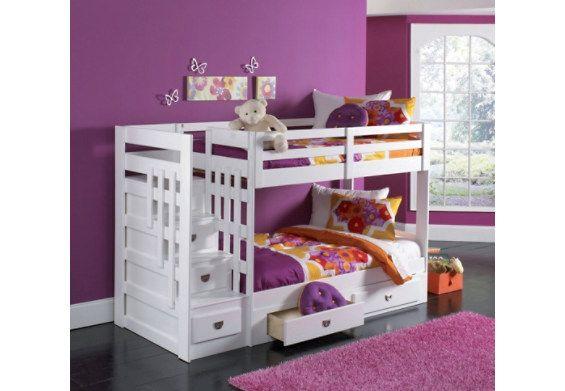Lits superpos s avec escalier malibu pour les petits - Lit superpose avec lit gigogne ...