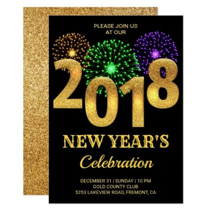 Elegant Gold 2018 Fireworks New Year S Eve Party Invitation
