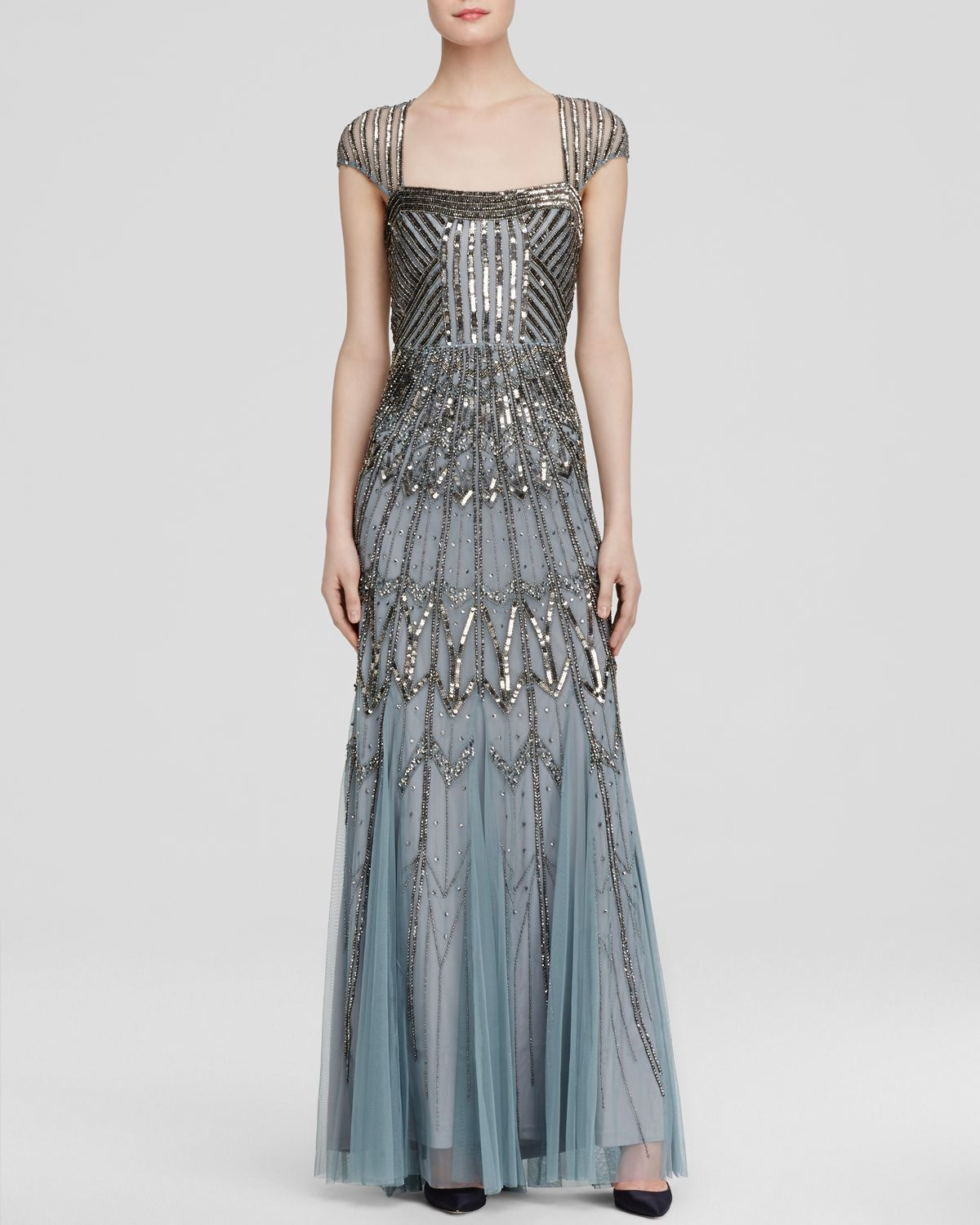 Estadio corazón Alcalde  Adrianna Papell Cap Sleeve Beaded Gown - Slate | Art deco dress, Gowns,  Inspired dress