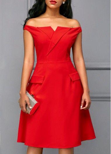 f93ef2eda6 Short Sleeve Off the Shoulder Red Dress