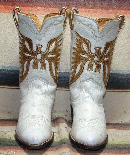 Womens Vintage Frye White Leather Gold