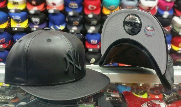 a692ec4c9fb New Era 9Fifty NEW YORK YANKEES BLACK on BLACK LEATHER Snap back MLB Hat Cap  PU