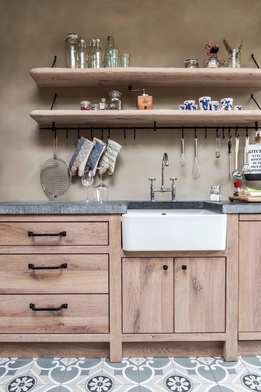 Keuken in massief eik - Eiken Project Landelijke keukens en totaalinrichting - Stabroek, België