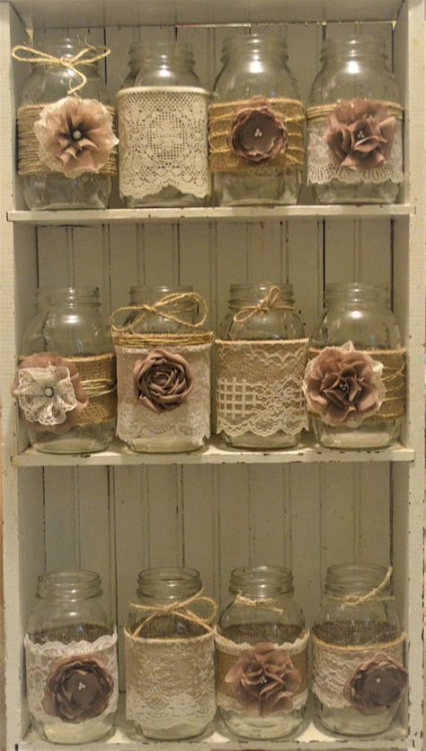 12 Mason Jar Wedding Centerpieces, Rustic Wedding, Burlap Mason Jar Sleeves, Jar Not Included, Bridal Shower Decorations