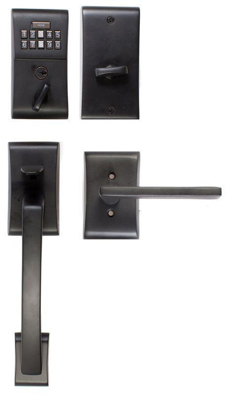 View The Emtek E4817 Single Cylinder Solid Brass Electronic Keypad  Handleset With Apollo Exterior Grip From The Brass Modern Collection At  Handlesets.com.