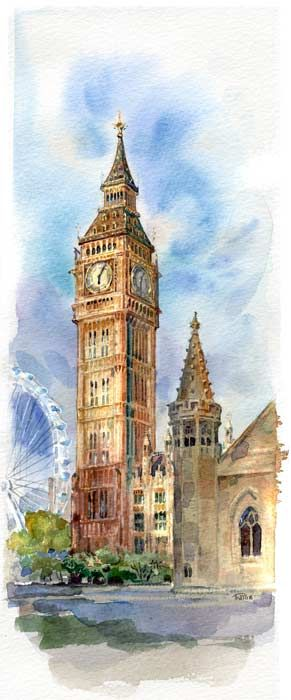 Clock Tower Watercolor London Painting Watercolor Architecture