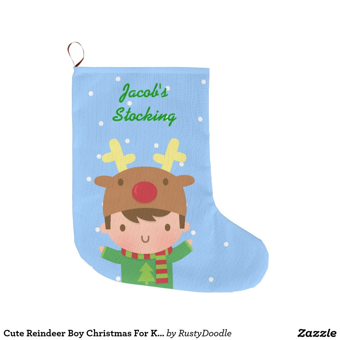 Cute Reindeer Boy Christmas For Kids Large Christmas Stocking