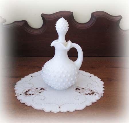 Lovely Vintage Milk Glass Hob Nail Cruet