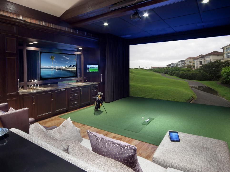 This man-cave media room caters to the tastes of an avid golfer.  Find a home technology professional near you.
