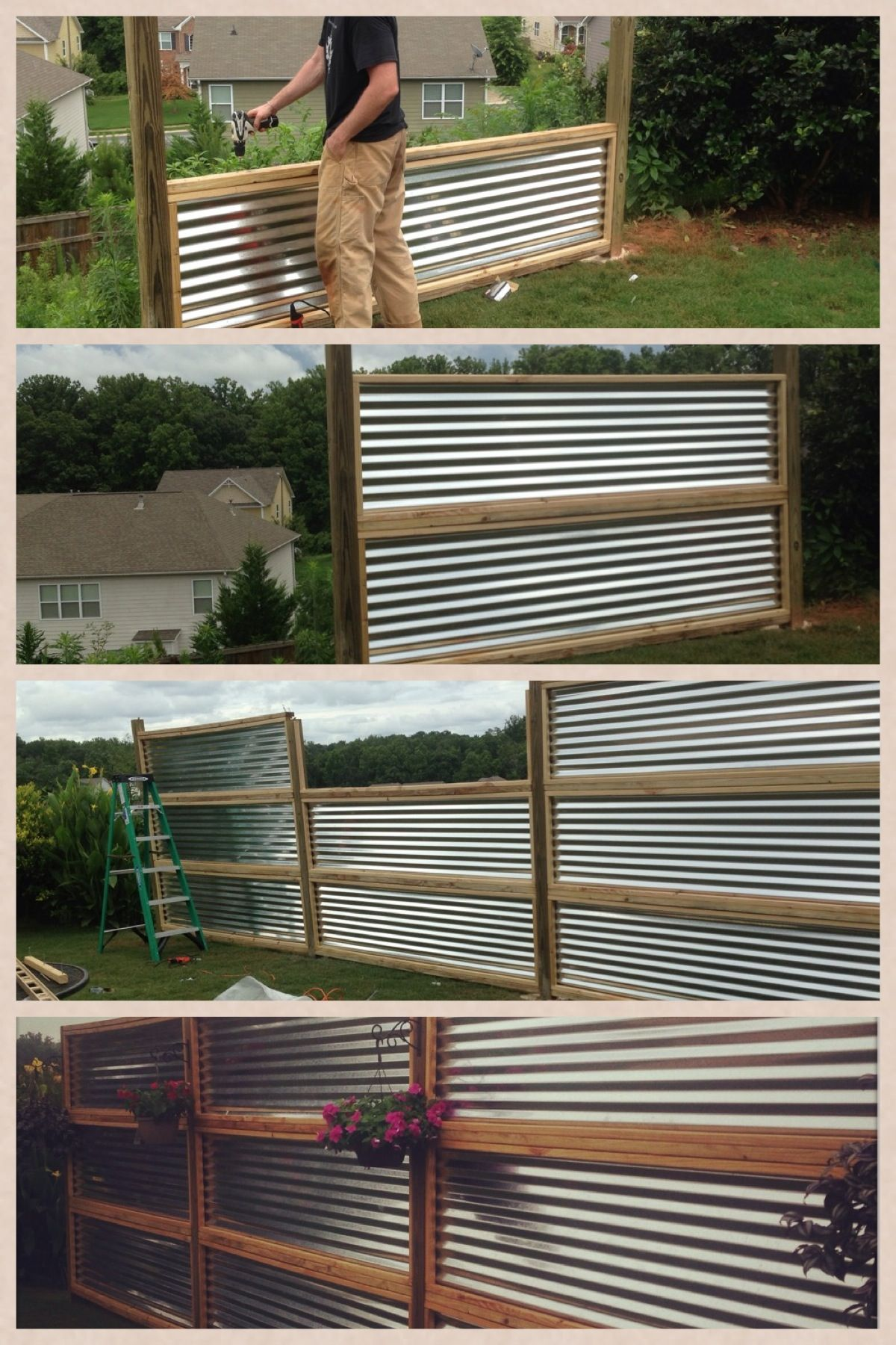 Privacy Screen Made From Sheets Of Galvanized Corrugated Metal