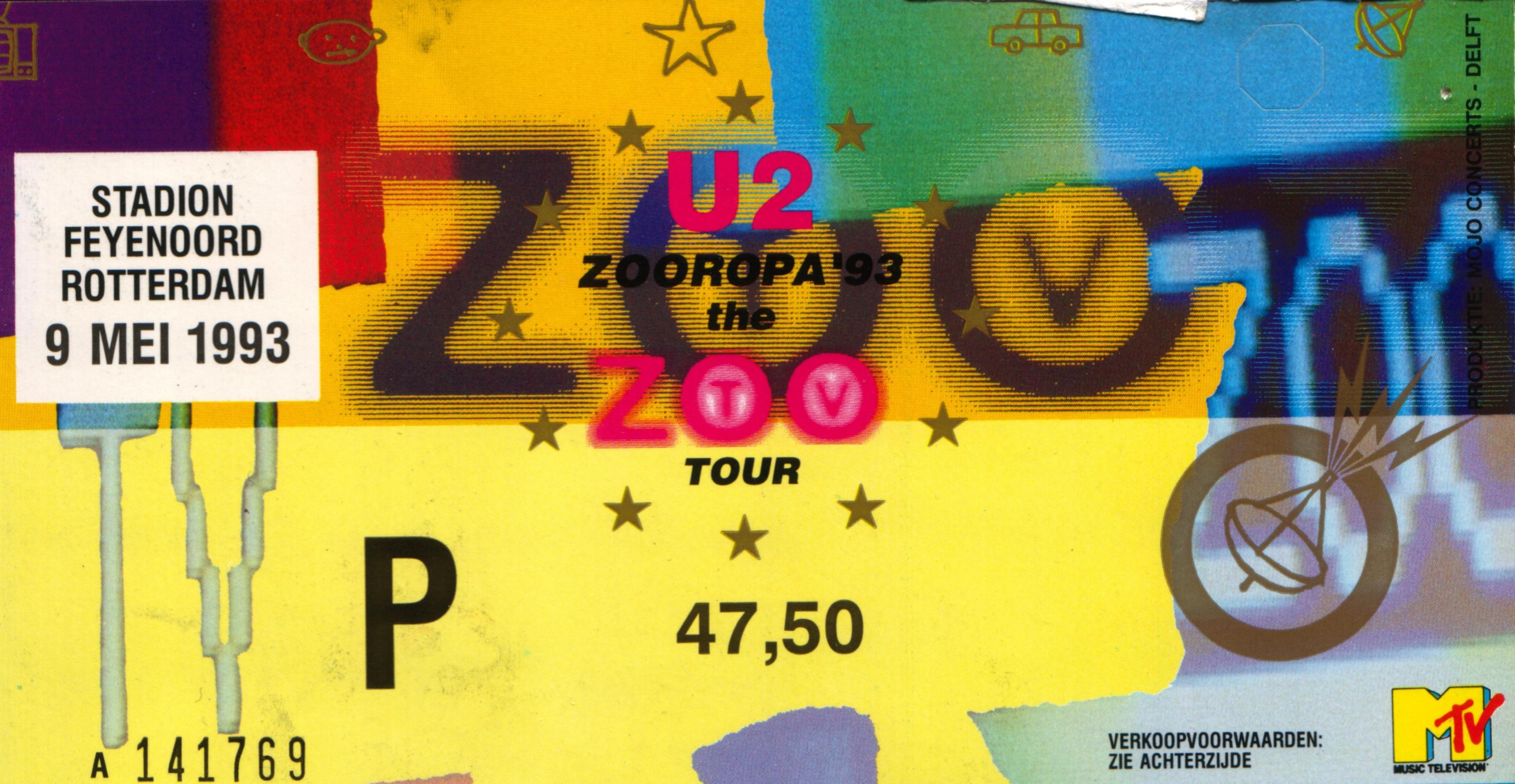 Ticket U2 Zooropa Tour Feyenoord Stadium Rotterdam Holland May