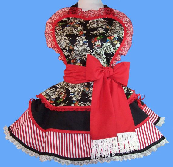 Retro  Sexy Pirate Apron  Pin Up Style by WellLaDiDa on Etsy, $55.00