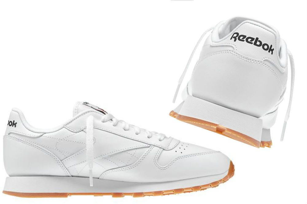 0a4e6210c0f Men s Reebok Classic Leather Gum-Sole All-WHITE casual sneakers 49797   Reebok  AR3445